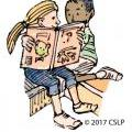 drawing of 2 children reading together