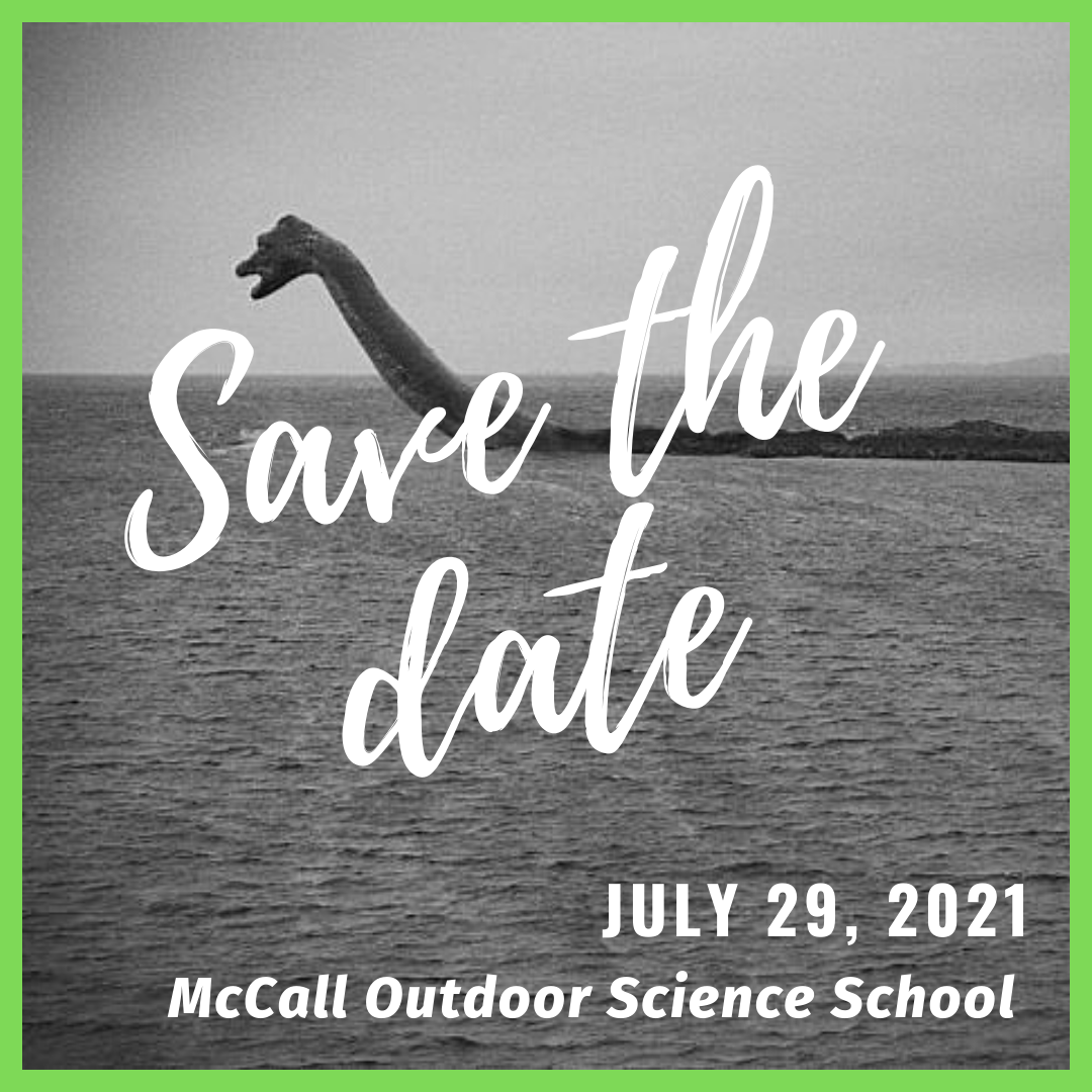 Save the date for the next MOSS Meetup on July 29, 2021. Image features the lake monster of Payette Lake.