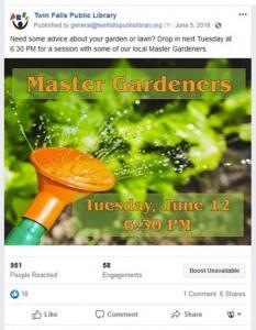Facebook post for master gardener program at Twin Falls
